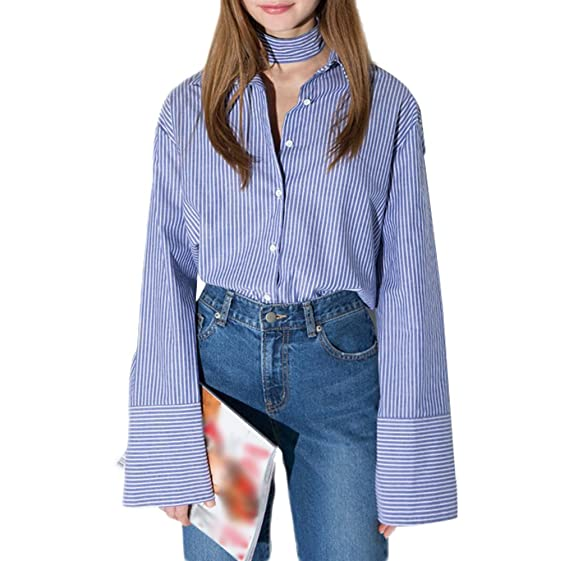 66fcfc1ad4 HaoDuoYi Women's Vertical Stripes Summer Tie Long Falbala Sleeve Shirt  Blouse (S, Blue)