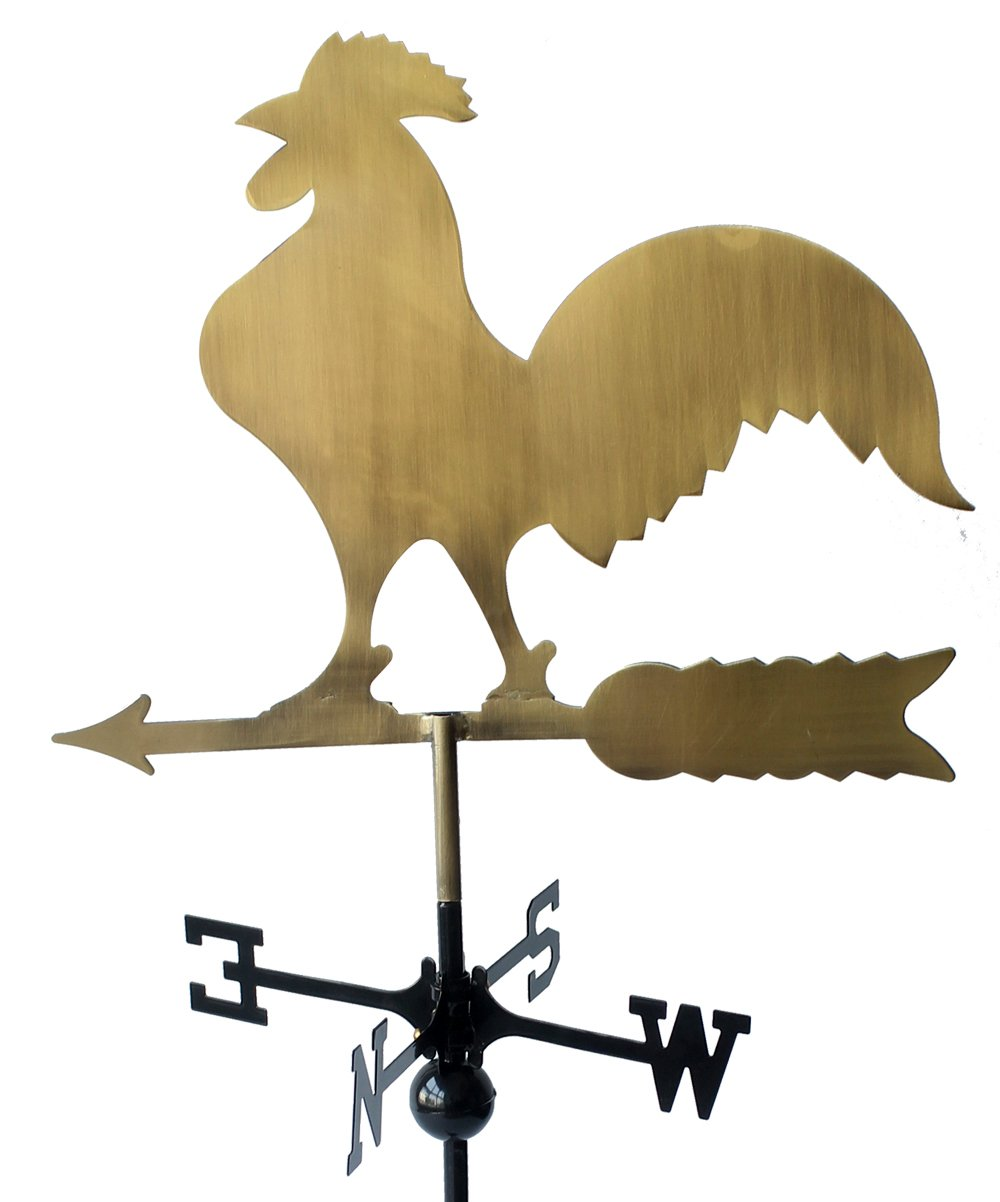 Classic 32'' Tall Metal Copper Color Rooster Weathervane with Adjustable Roof Mount … by RUDY (Image #3)