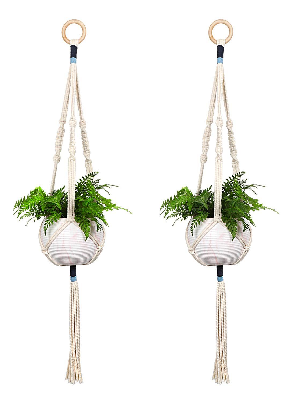 Macrame Plant Hangers - Indoor Outdoor Wall Hanging Planter - Planters Basket Holder - Plants Flower Pot Hanger - Cotton Rope Wood Ring Boho Decor, 2Pcs/41 Inch