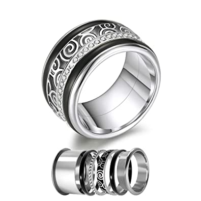 Amazon.com: Floya - Anillos de acero inoxidable con ...