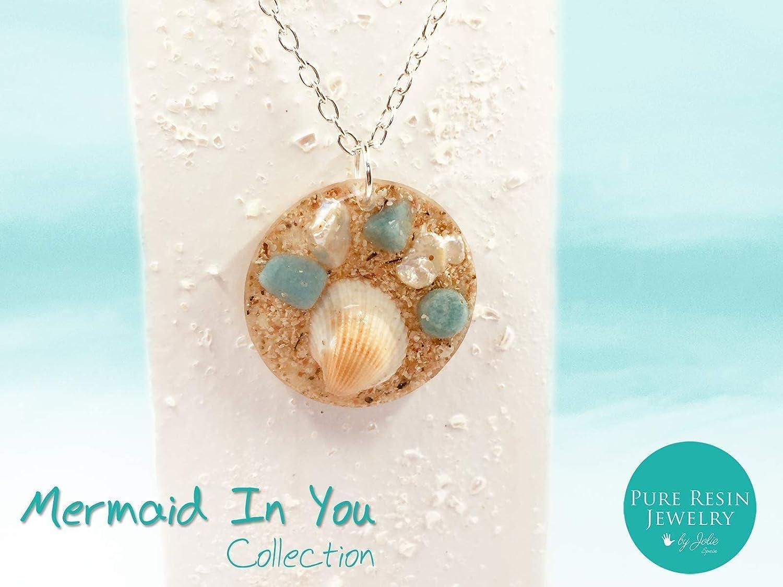 KOH SAMUI - Collar único turquesa con piedras preciosas genuinas de arena de playa y amazonita, colgante verde beige, joyería de arena - Boho Chic - 37PL