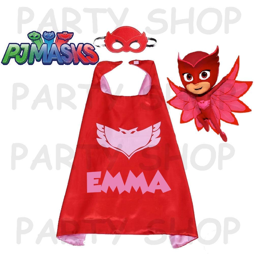 double layer cartoon cosplay children costumes personalized Owlette or Gekko Pj Masks custom cape and mask add your childs name superhero capes of 27 inches for kids choose Catboy
