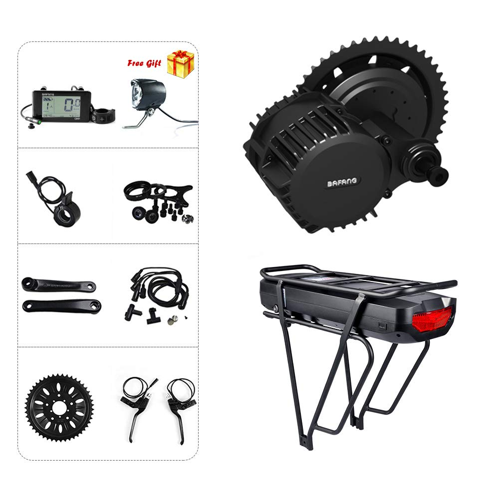 C961 Display 68mm44TWith Battery Bafang BBSHD 1000W Mid Drive Kit Ebike Motor with LCD Display 8fun 48V Mid Motor Electric Bike Conversion Kits with Rear Rack Battery and Charger