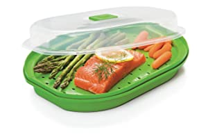 Prep Solutions by Progressive Microwavable Fish and Veggie Steamer, Steam Vent, Vegetable Steamer, BPA FREE, Dishwasher Safe