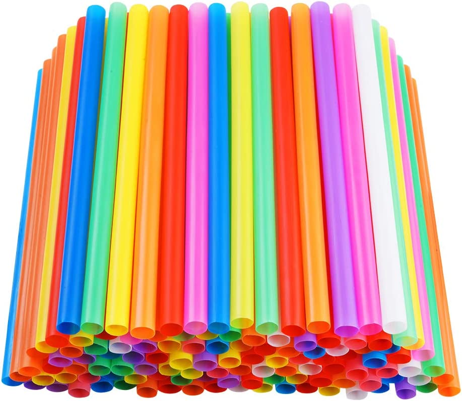 "200 PCS Jumbo Smoothie Straws, Colorful Disposable Plastic Large Wide-mouthed Milkshake Straw (0.43"" Diameter and 8.2"" long)"