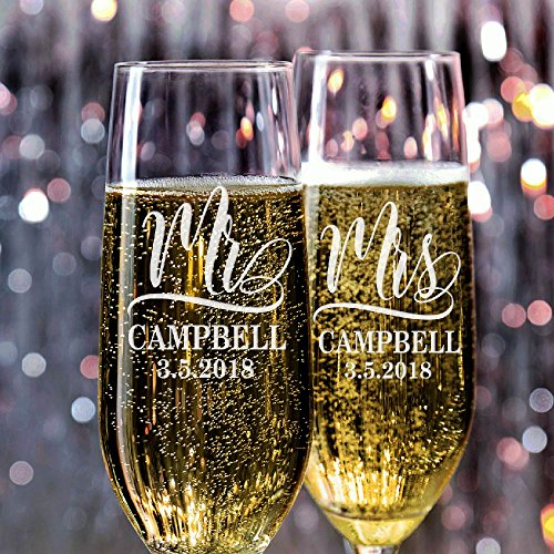Set of 2, Personalized Wedding Glasses For Bride and Groom, Personalized Wedding Champagne Flutes, Etched Wedding Toasting Glasses - Heart to Heart Glasses - Customized Wedding Gift (Heart Wedding Toasting Flutes)
