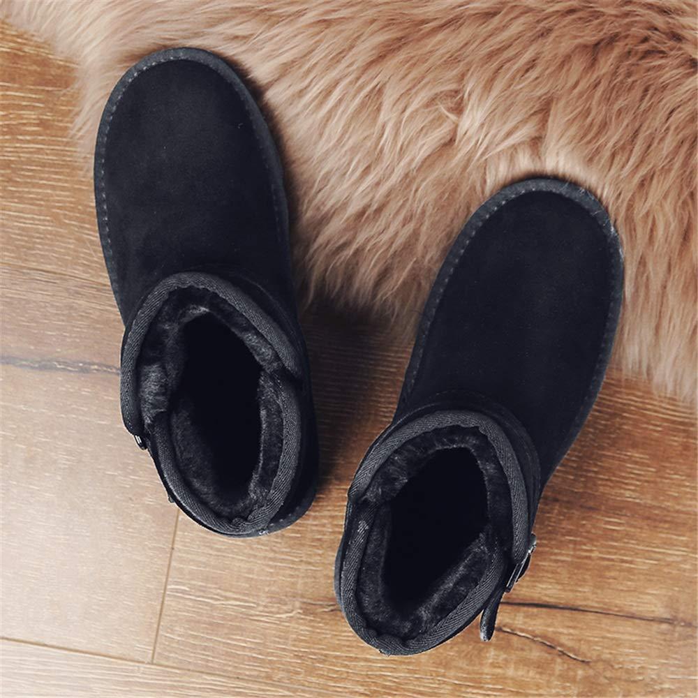 Jiuyue-schuhe, Männer Und Wonmen Antirust Metallknöpfe Winter Modische Faux Fleece Inside Home Schuhe Modische Winter Schneeschuhe Lässig,2018 Herren Stiefel (Farbe   Schwarz, Größe   44 EU) d6ab39