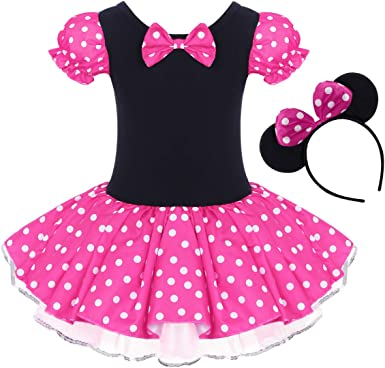Toddler Girl Polka Dots Party Fancy Costume Tutu Dress up Dance Leotard Gymnastic Cosplay Cartoon Ear Headband