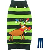 Mikayoo pet sweater for small dog/cat,Ugly Sweater,Color Horizontal Stripes ,Christmas Holiday Xmas, Elk Series, Reindeer series,with Lights and Snowball