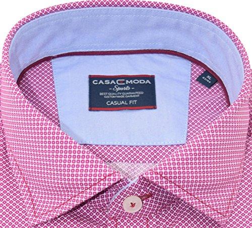 Casamoda Herrenhemd casualfit rotes Hemd mit Druck langarm Kent Kragen mit Tasche Size XL