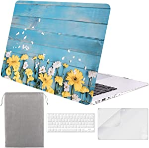 Sykiila for MacBook Air 11 Inch Case 4 in 1 Hard Shell Case & HD Screen Protector & Sleeve & TPU Keyboard Cover for Model A1370 / A1465 - Floral Blue Wood