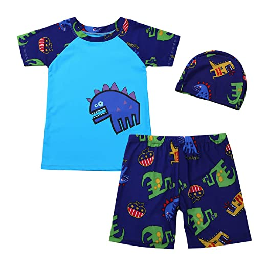 817a3dad2a458 iiniim Boys Rashguard Swimsuit Top Shirts with Shorts Trunks Kids Dinosaur Swimwear  Bathing Suit with Swimming