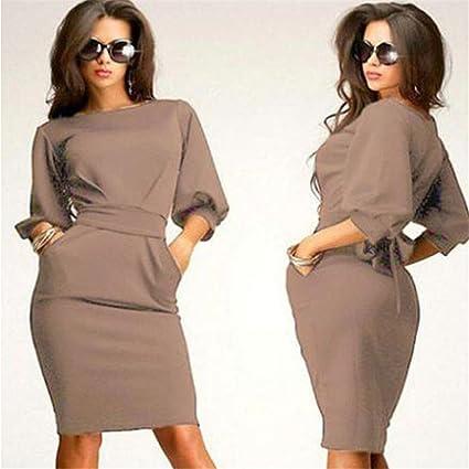 4dfc7f1f12255 Amazon.com: Hemlock Women Office Dress Half Sleeve Working Dress Slim  Bodycon Dress Pocket Tie Party Dress (XL, Khaki): Cell Phones & Accessories