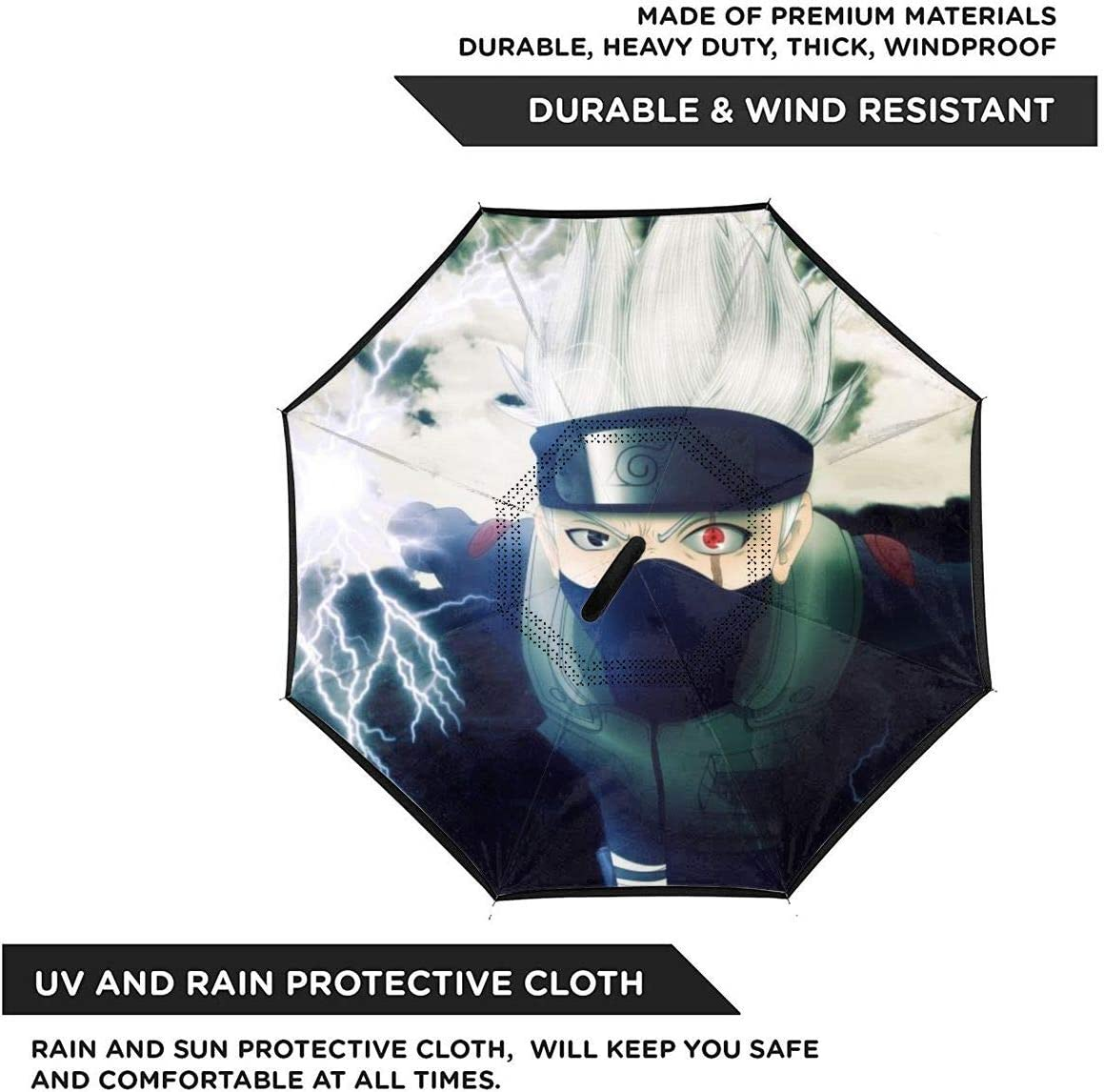 Windproof And Rainproof Double Folding Inverted Umbrella With C-Shaped Handle UV Protection Inverted Folding Umbrellas Naruto Hatake Kakashi Anime Car Reverse Umbrella