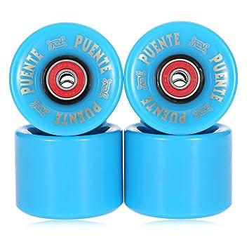 Juego de 4 ruedas para tabla de skate, 60 x 45 mm, azul: Amazon.es: Deportes y aire libre
