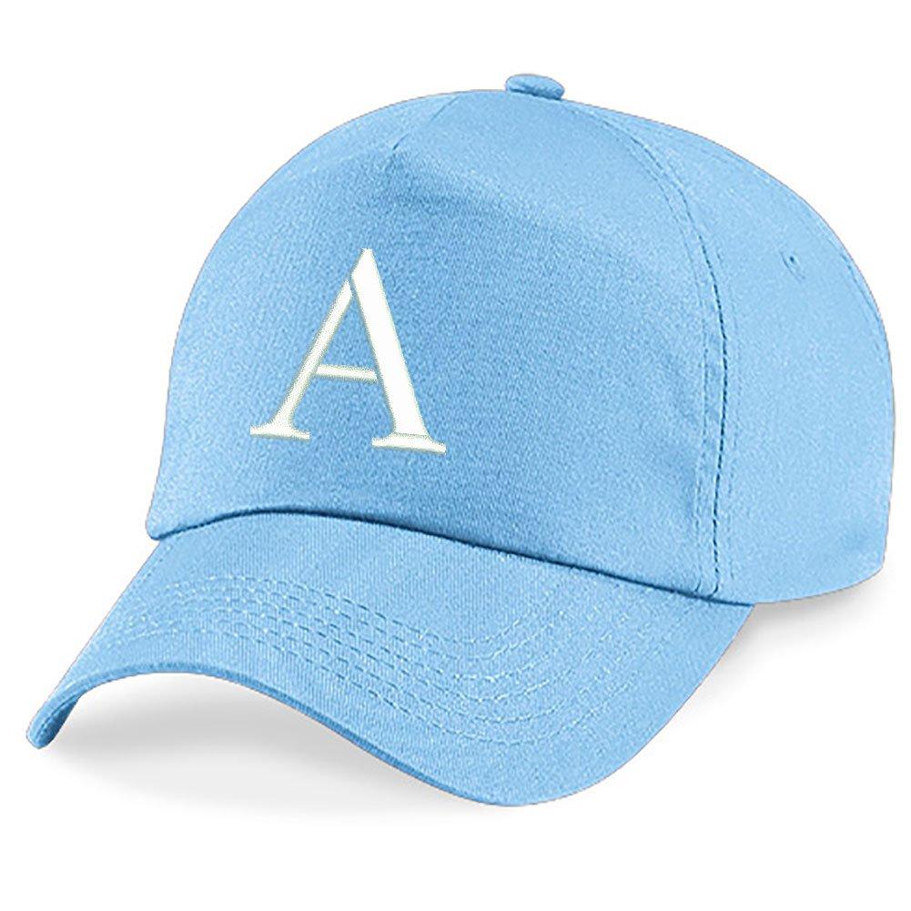 4sold Childrens Embroidery Cotton Summer Sun Hat Children School Kids Caps Hat Sport Alphabet A-Z Boy Girl Adjustable Baseball Cap Blue kids sky blue