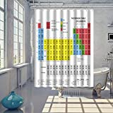 XILALU Creative 70*70inch Periodic Table of Elements Chemistry Shower Curtain With Hooks (Multicolor)
