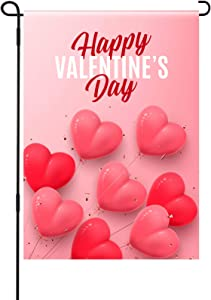 Tatuo Valentine's Day Garden Flag House Heart Garden Flag Happy Valentine's Day Yard Flag Double-Sided Seasonal Garden Flag for Yard Outdoor Valentine's Day Decoration, 12.5 x 18 Inches
