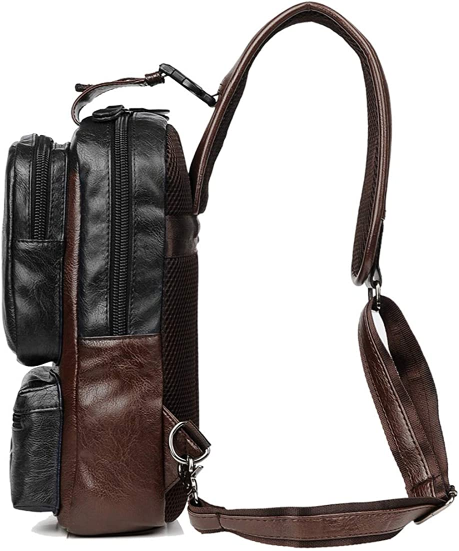 Men Vintage Leather Cross Body Sling Backpack Large Capacity Casual Office With