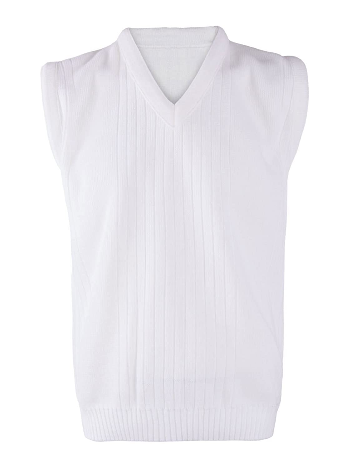 Rimi Hanger Mens Lawn Bowling Sleeveless V Neck Knitted Vest Top Adults Ribbed White Sweater S/5XL
