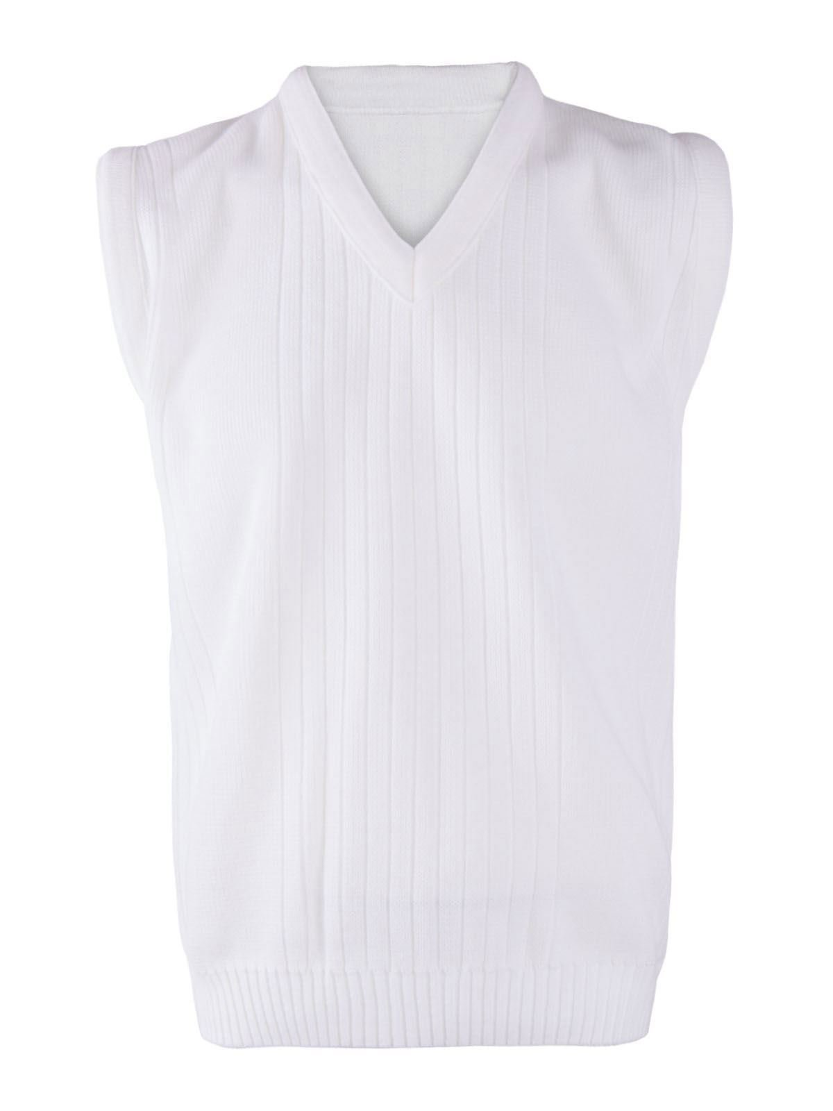 Rimi Hanger Mens Lawn Bowling Sleeveless V Neck Knitted Vest Top Adults Ribbed White Sweater White Large