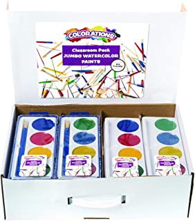 product image for Colorations Jumbo Washable Watercolor Classroom Pack(60 Piece Set) –Includes RegularandGlitter WatercolorTrays, Refills, Brushes, Storage Case –Always Have Refills on Hand –Great for Groups