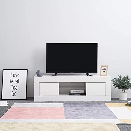 Keinode TV LED moderna armadio bianco opaco e bianco laccato ...