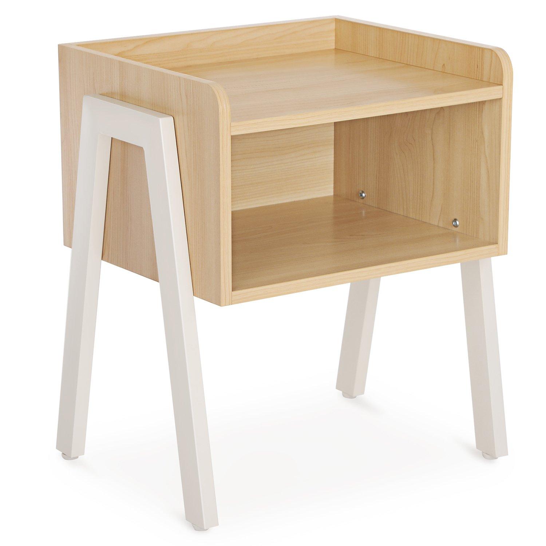 SONGMICS Tavolino Moderno Comodino Impilabile da Caffè con Scomparto Aperto Moderno Rustico Elegante Legno di Rovere con Gambe e Struttura di Metallo LET54N
