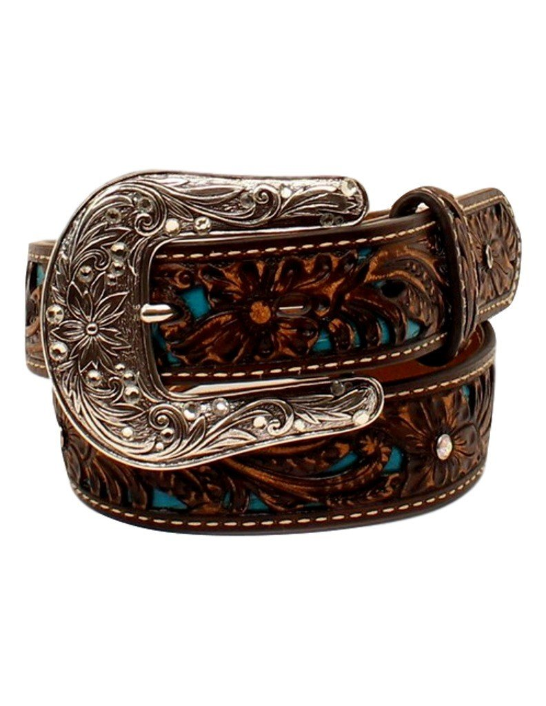 Ariat Girl's Pierced Floral Strap Belt, Brown, 26 by ARIAT (Image #1)