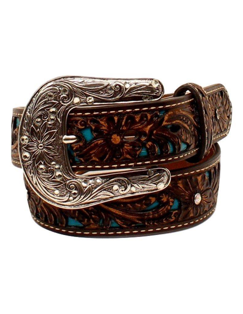 Ariat Girl's Pierced Floral Strap Belt, Brown, 26