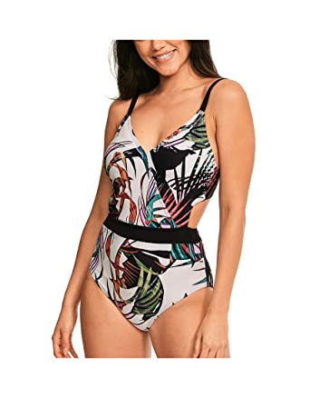 975bd34ee34f2 Figleaves Womens Bali Palm Underwired One Piece Bathing Suit Size 32FF in  Desert Palm
