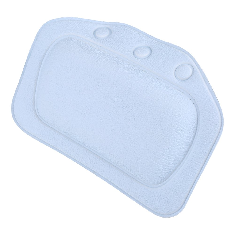 Dioche Bathtub Pillow, Soft Foam Padded Spa Bath Pillow PVC Tub Headrest Head Neck Back Cushion Bathroom Accessories Home Use(Blue)