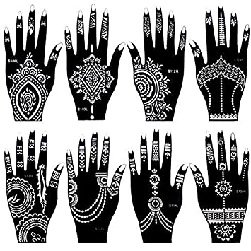 3fd0c1fbd Amazon.com : Ivana 8 Pieces India Henna Tattoo Stencil Set for Women Girls Hand  Finger Body Paint Temporary Tattoo : Beauty