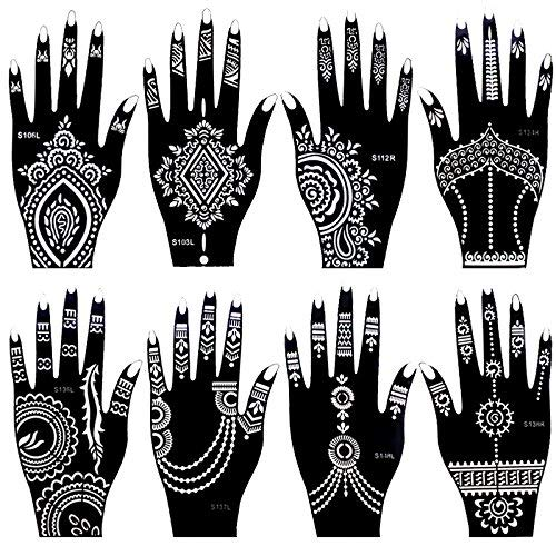 Amazon Stencils For Henna Tattoos 10 Sheets Self Adhesive Beautiful Body Art Temporary Tattoo Templates Flower Butterfly Designs Beauty