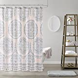 Pink and Grey Shower Curtain Comfort Spaces Adele Bathroom Shower Modern Boho Printed Medallion Pattern for Girls Bath Curtains, 72