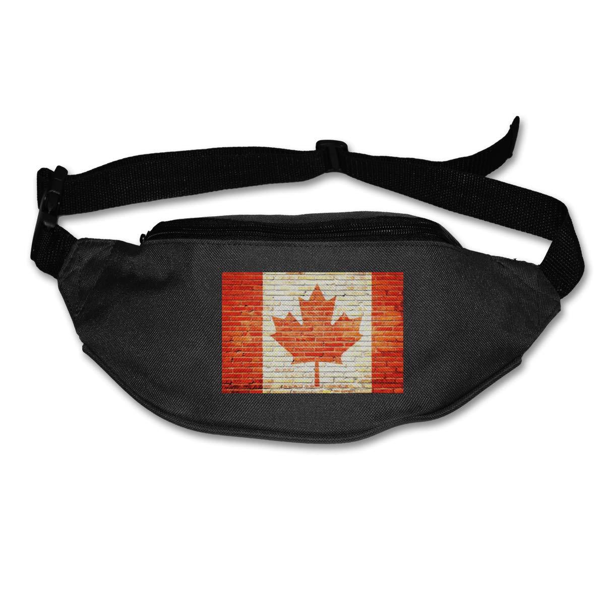 Retro Canada Flag Sport Waist Packs Fanny Pack Adjustable For Hike