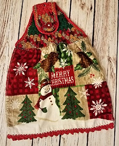 Great Holiday Gift for friends, family, Secret Santa, and Teachers. Woodland Snowman Terry Velour, double sided, reversible, hanging bath or kitchen towel. Coordinating red metallic edging and border.