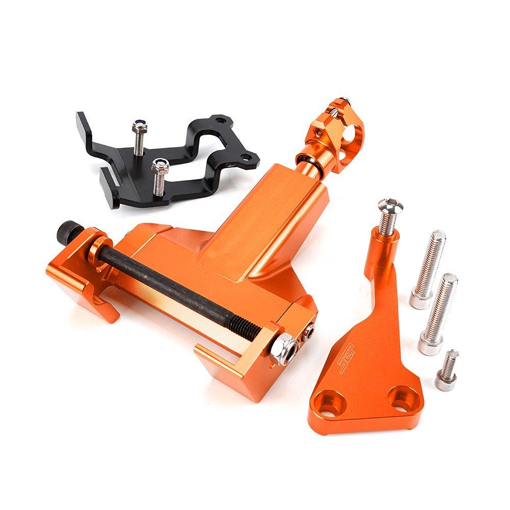 For Yamaha MT07 MT 07 MT-07 FZ07 2014-2017 Motorcycle CNC Aluminum Alloy Steering Stabilizer Damper Bracket Mounting Kits (Orange)