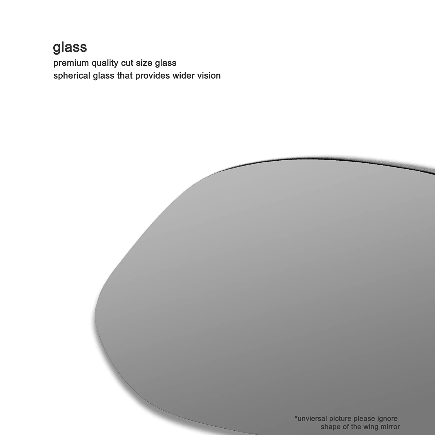 Driver right hand side Heated wing door Silver mirror glass with backing plate #C-SHY//R-SKARD12 Clip On