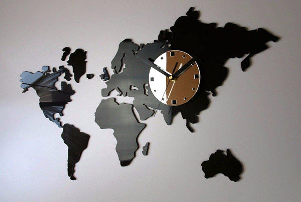 QMPZG-Weltzeituhr Karte, große Wanduhr im Büro, Wohnzimmer moderne und kreative Aufkleber Wanduhr