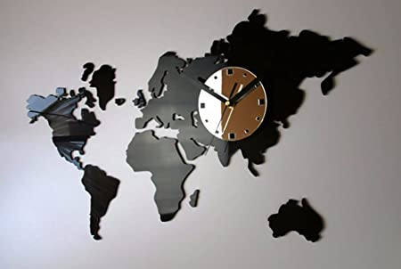 World Map Clock QMPZG World map clock, large wall clock in the Office, living room  World Map Clock