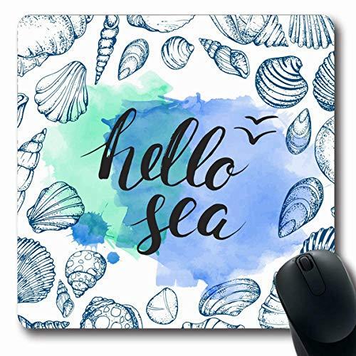 Aquatic Brush - Ahawoso Mousepads for Computers Summer Watercolor Beach Blue Seashells Handwritten Inscription Abstract Aquatic Brush Clams Oblong Shape 7.9 x 9.5 Inches Non-Slip Oblong Gaming Mouse Pad
