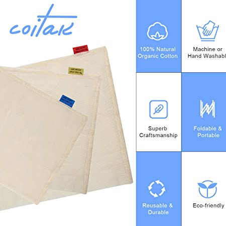Amazon.com: Coitak - Bolsas reutilizables de algodón ...