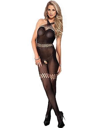 e3ca1e0b039 ohyeahlady Women Hollow Out Bodystocking Sexy Mesh Fishnet Bodysuit Plus  Size Body Stockings Lingerie  Amazon.co.uk  Clothing