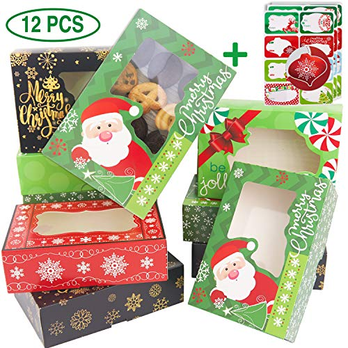 12 Christmas Cookie Boxes -Large Holiday Bakery Food Container for Gift Giving with 80 Count Christmas Foil Gift Stickers (Lids The Christmas Tin)