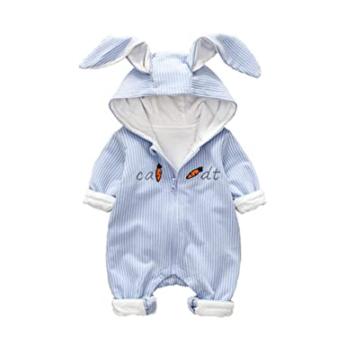 cbe8ce15d Amazon.com  Baby Girl Boy Jumpsuit Cartoon Carrot Printed Striped ...