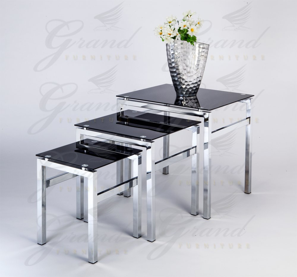 Elsa Modern Glass Nest of Tables Black 3 L& Side Coffee Table Set Living Room Furniture Amazon.co.uk Kitchen u0026 Home : coffee table and side table set - pezcame.com
