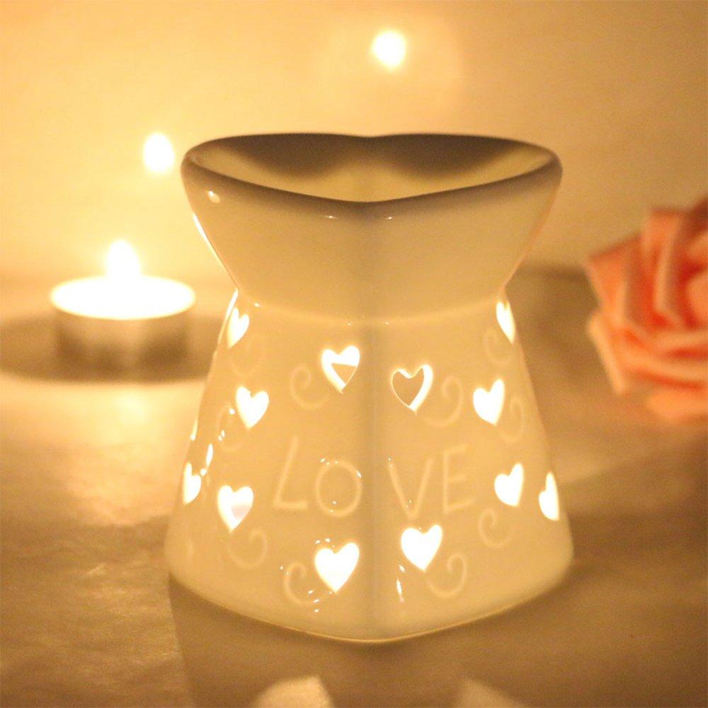 DEBON Creative Milk White Ceramic Hollowing Floral Aroma Lamp Oil Diffuser Essential Oil Lamp Aromatherapy Furnace Ceramic Incense Burner Oil Candle Furnace Tea Light Holder Candle Holders (Love)