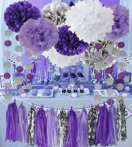 Bridal Shower Decorations Purple White Silver TIssue Pom Pom Amaranth Purple Silver Circle Paper Garland for Baby Shower Decorations/Birthday - Silver Purple