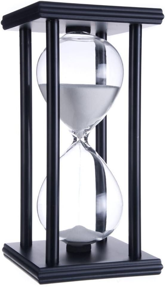 Hourglass Timer for 60 Minutes Sandglass Timer for Kitchen Living Room Home Office Desk Bedroom Party Festival Coffee Table Book Shelf School Game Sand Timer Clock (black frame white sand)